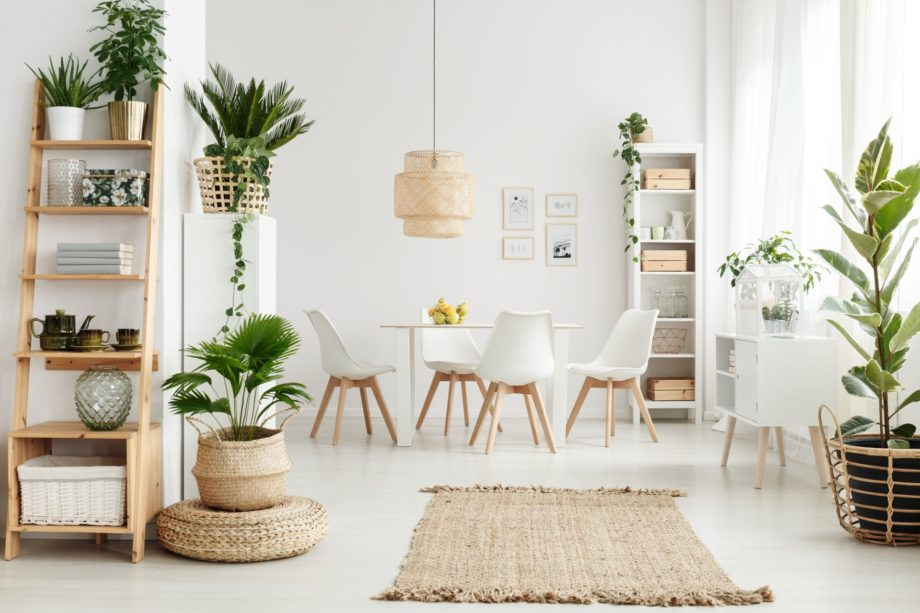 Pouf,And,Brown,Rug,Near,White,Cupboard,In,Natural,Dining