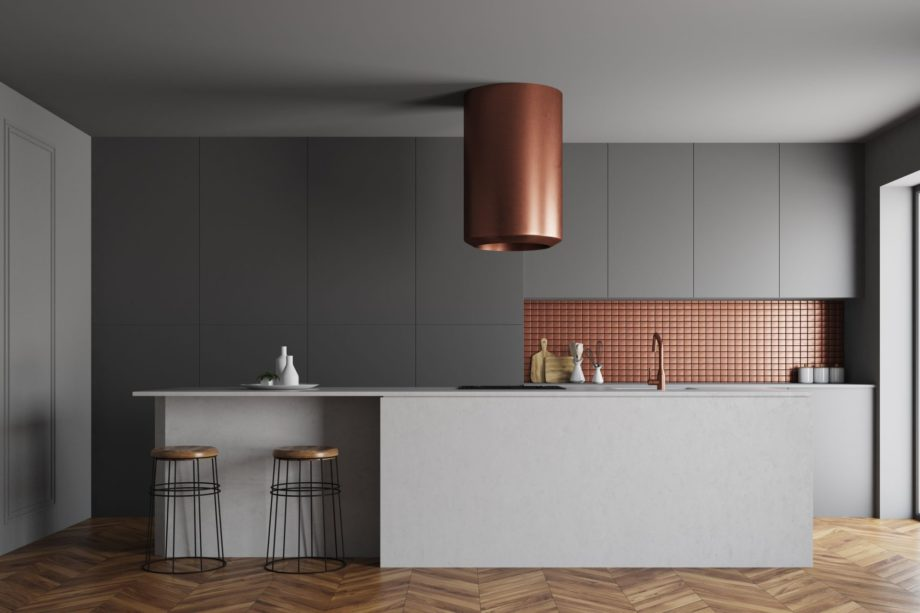 Gray,And,Bronze,Wall,Kitchen,Interior,With,A,Wooden,Floor