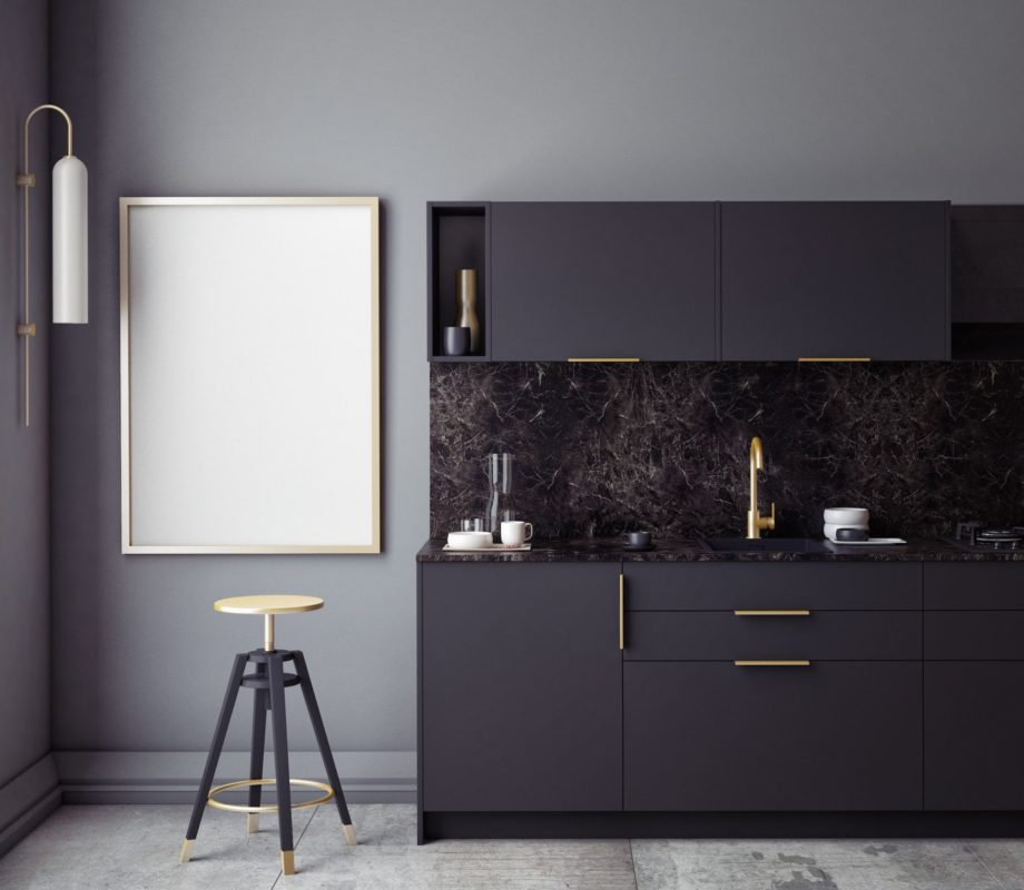 Black,Kitchen,Interior,Wall,Mock,Up,On,Gray,Background,,3d