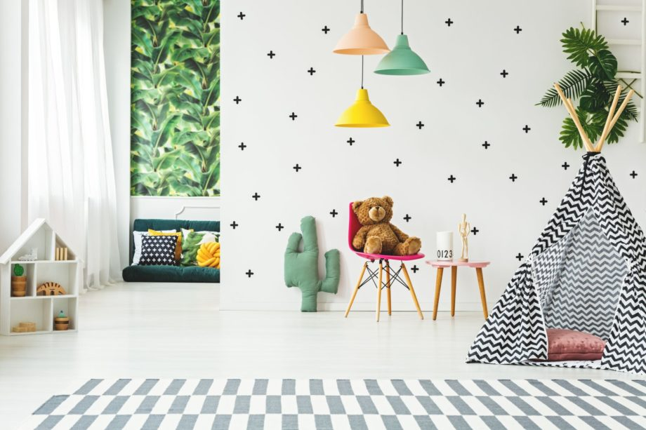 Creative,Playroom,Interior,Decorated,With,Colorful,Lamps,,Cactus,Pillow,And