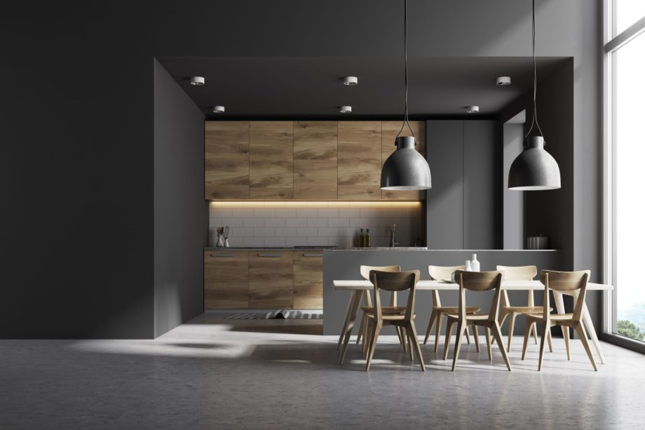 Modern,Kitchen,Interior,With,Gray,And,White,Brick,Walls,,A