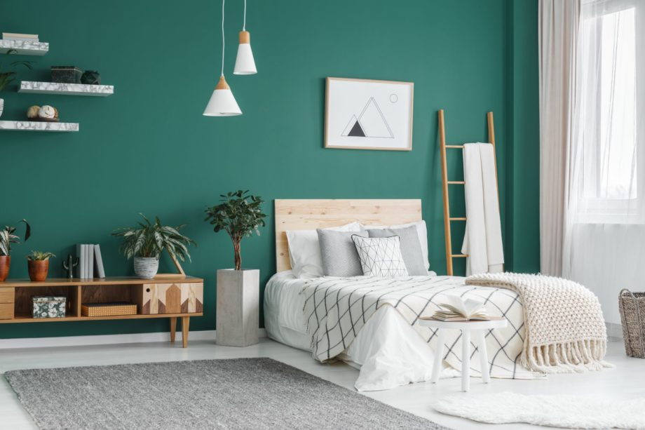 Bed,Between,Ladder,And,Plant,In,Green,Boho,Bedroom,Interior