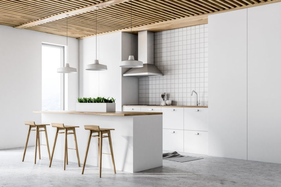 White,Kitchen,Interior,With,White,Countertops,,And,A,Tiled,Wall.