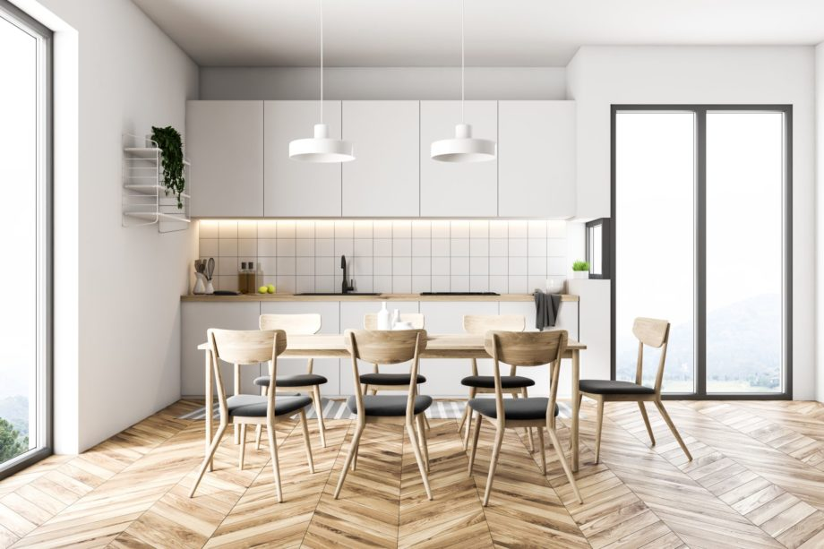 French,Window,Kitchen,With,White,Walls,,A,Wooden,Floor,,A