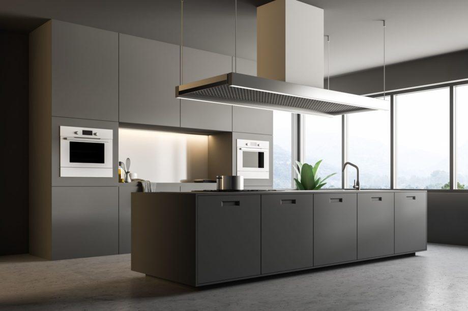 Interior,Of,Minimalistic,Kitchen,With,Gray,Walls,,Concrete,Floor,,Gray