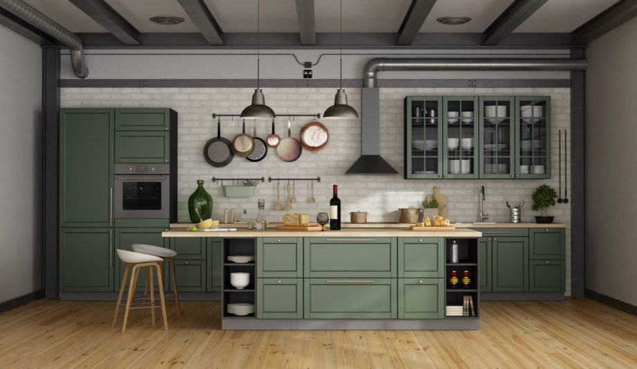 Vintage,Green,Kitchen,With,Island,In,A,Loft,-,3d