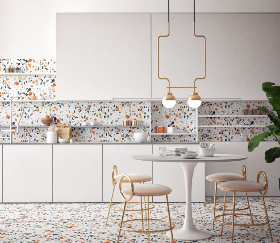 Dining,Room,And,Kitchen,Interior,With,Terrazzo,Background,,3d,Rendering,