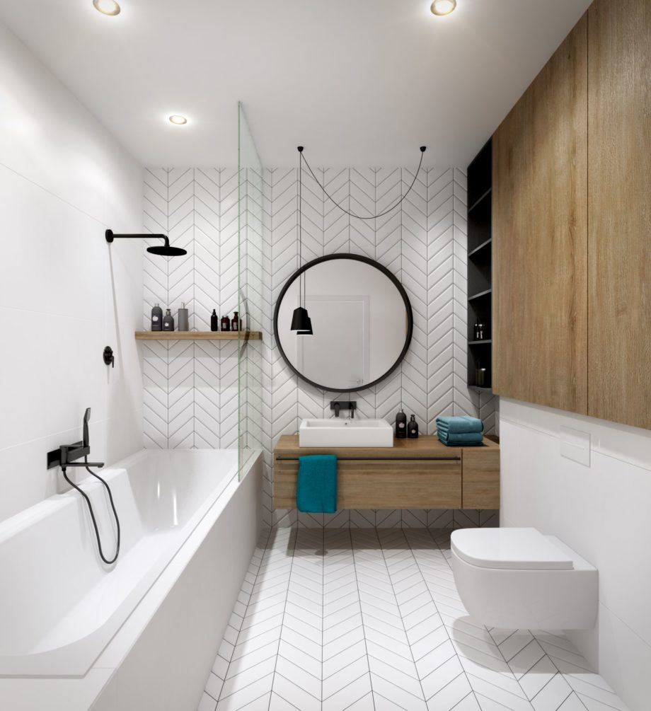 Modern,Bathroom,Interior,With,Wood,Elements;,3d,Ilustration,,3d,Rendering;