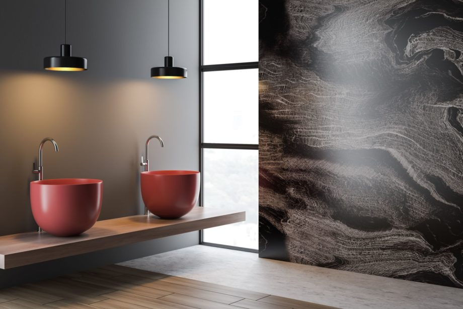 Interior,Of,Modern,Bathroom,With,Gray,And,Marble,Walls,,Wooden