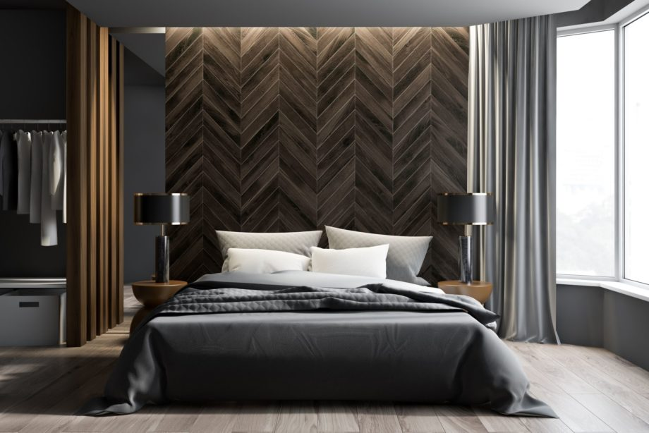 Interior,Of,Modern,Bedroom,With,Gray,And,Dark,Wooden,Walls,