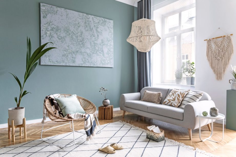 Stylish,And,Design,Composition,Of,Living,Room,With,Gray,Sofa,