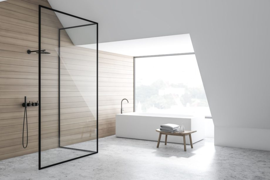 Corner,Of,Stylish,Bathroom,With,White,And,Wooden,Walls,,Concrete