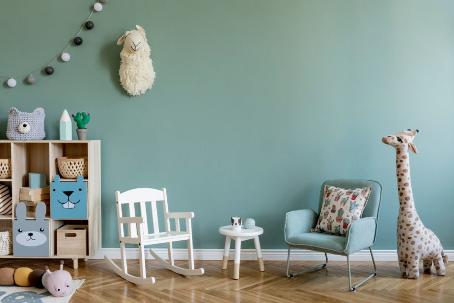 Scandinavian,Interior,Design,Of,Playroom,With,Wooden,Cabinet,,Armchairs,,A