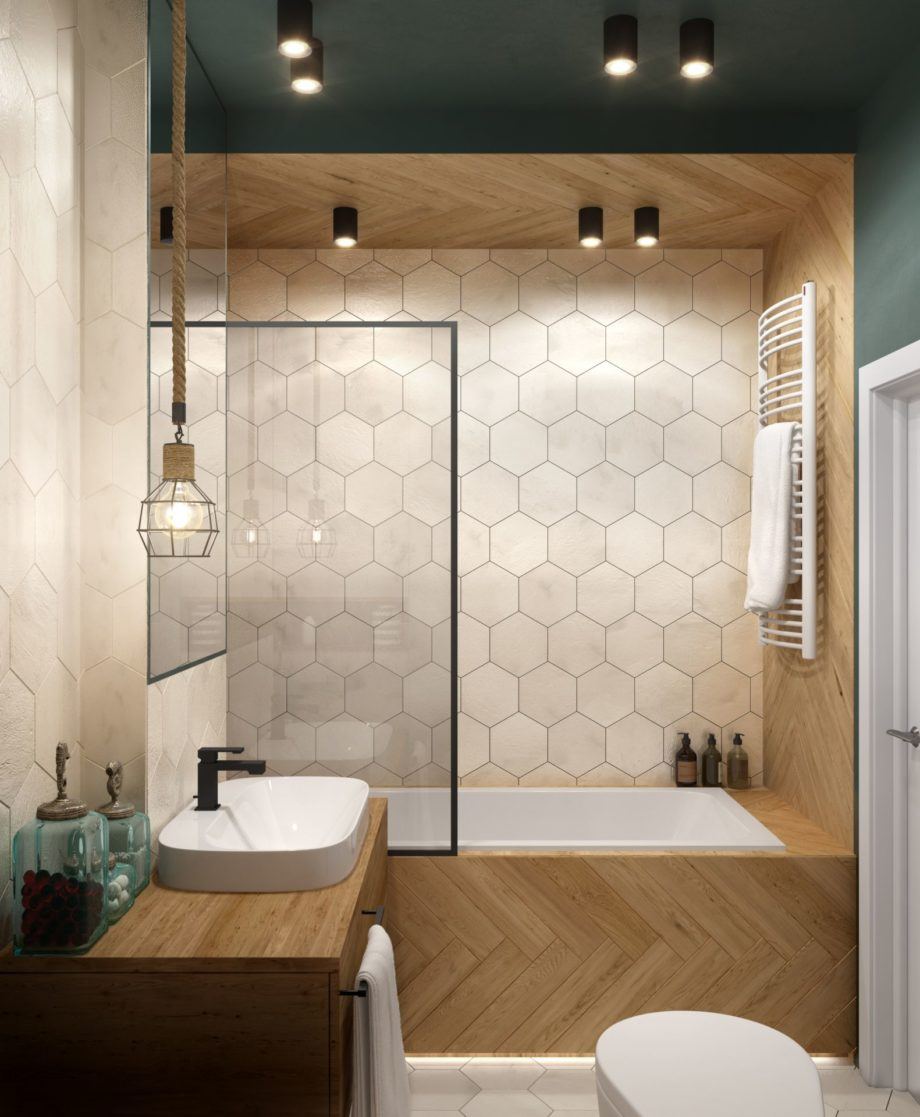 Modern,Bathroom,Interior,With,Wood,Elements,And,Green,Walls,And