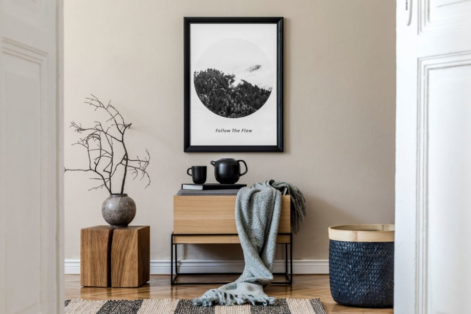 Modern,Scandinavian,Living,Room,Interior,With,Black,Mock,Up,Poster