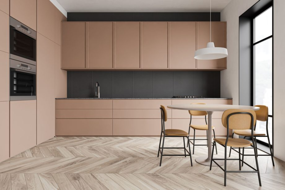 Interior,Of,Modern,Kitchen,With,White,And,Gray,Walls,,Wooden