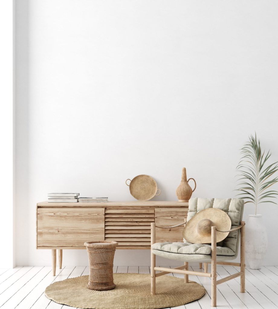 Wall,Mock,Up,In,White,Simple,Interior,With,Wooden,Furniture,