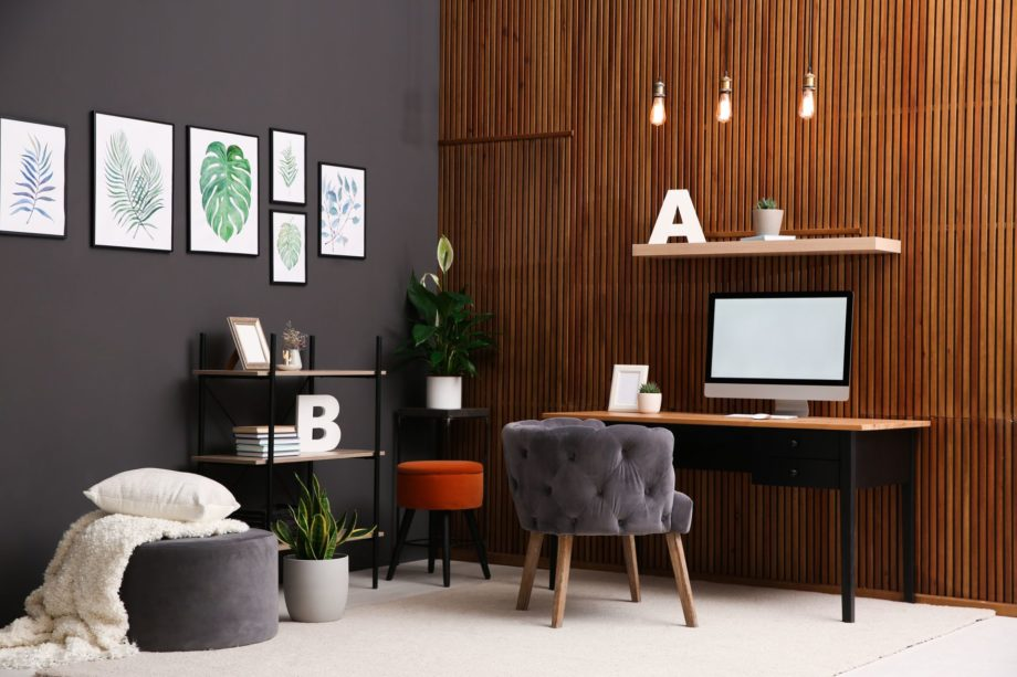 Comfortable,Workplace,With,Computer,Near,Wooden,Wall,In,Stylish,Room
