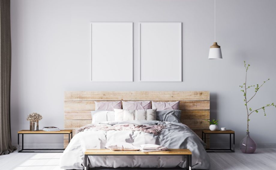 Wooden,Bed,In,Modern,Interior,Space,,3d,Render,,3d,Illustration