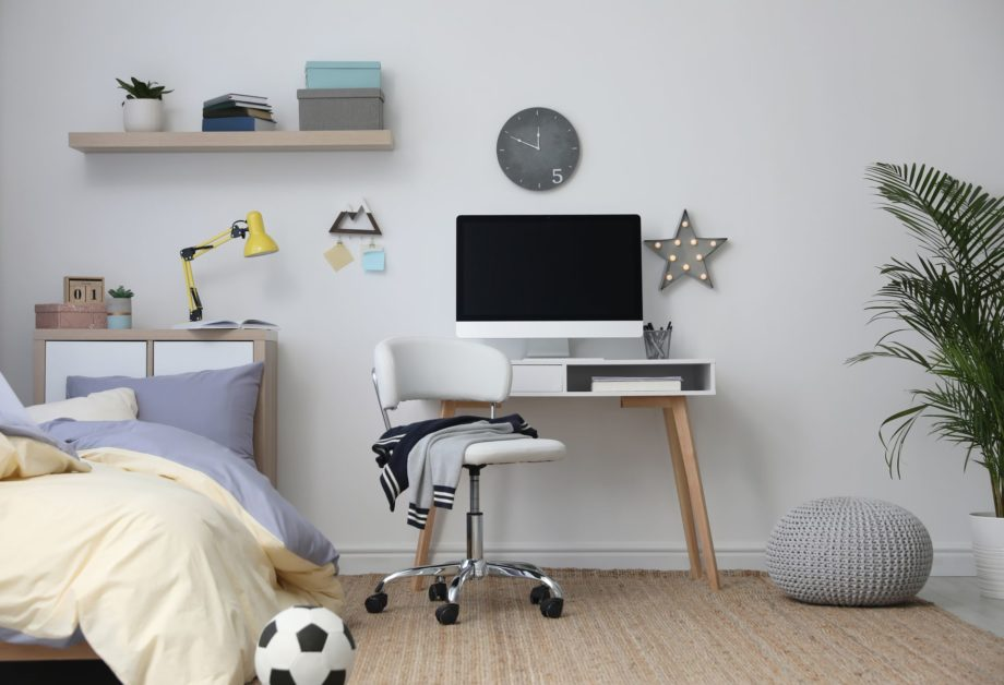 Stylish,Teenager's,Room,Interior,With,Comfortable,Bed,And,Workplace