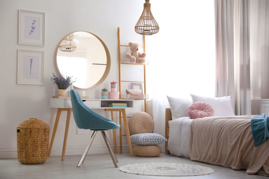 Teenage,Girl's,Bedroom,Interior,With,Stylish,Furniture.,Idea,For,Design