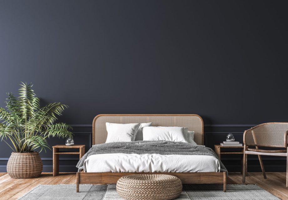 Dark,Bedroom,Interior,Mockup,,Wooden,Rattan,Bed,On,Empty,Dark