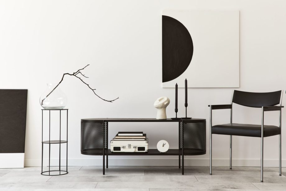 Interior,Design,Of,Modern,Living,Room,With,Black,Stylish,Commode,