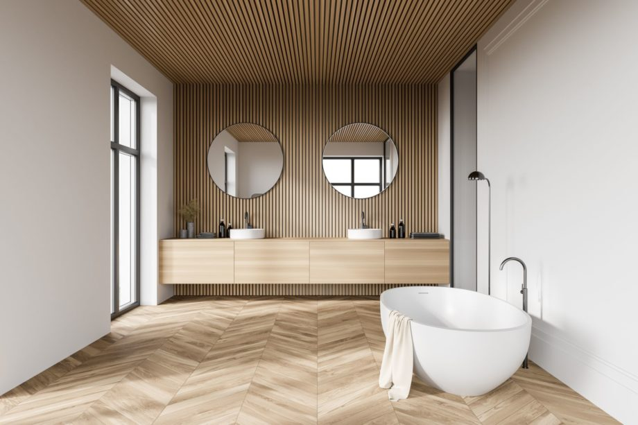 Comfortable,Bathtub,And,Sink,Standing,In,Modern,Bathroom,With,White