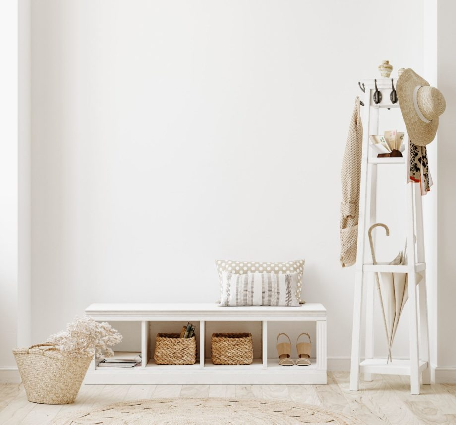 Wall,Mockup,In,White,Clear,Hallway,Interior,,3d,Render