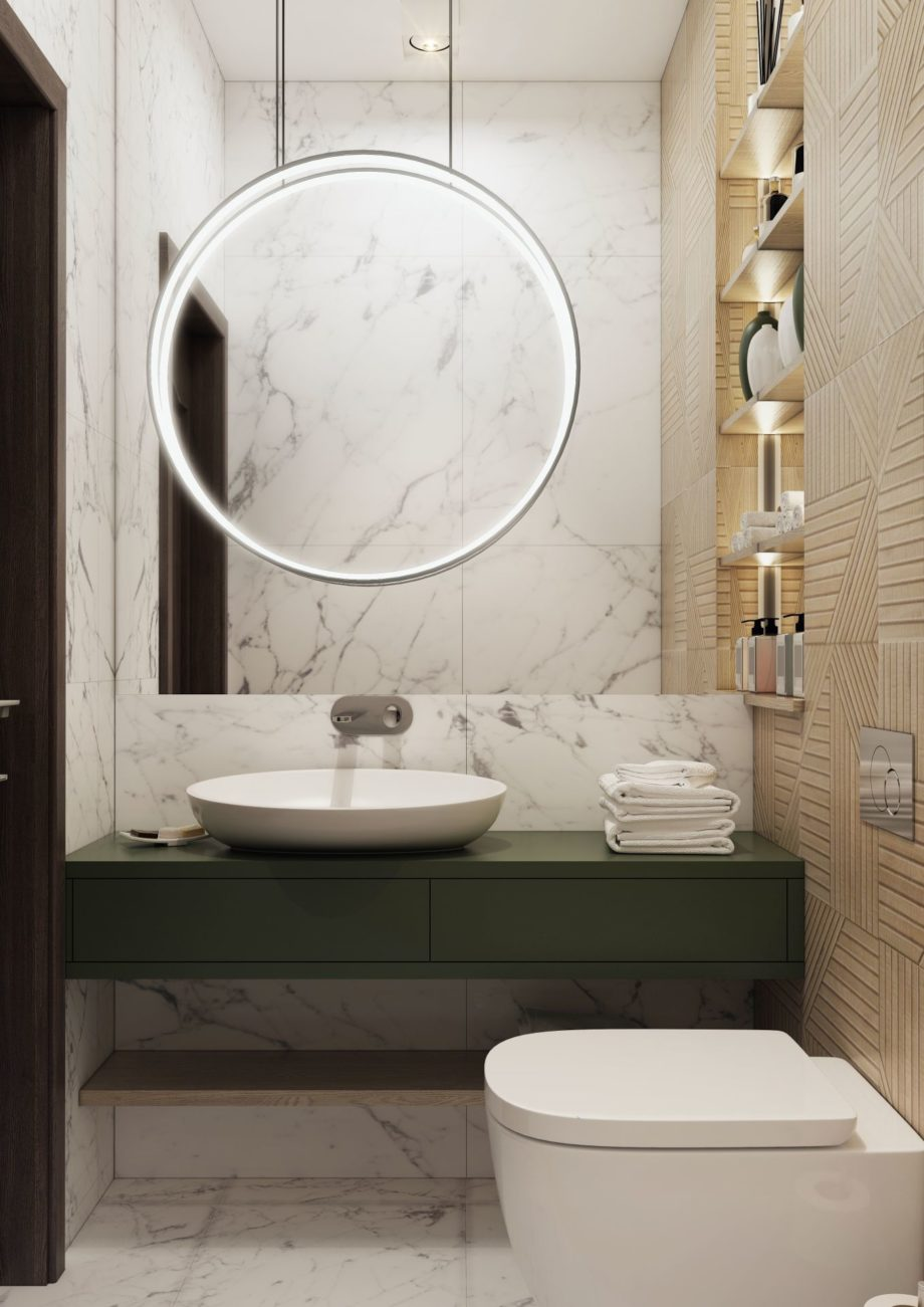 Small,Bathroom,Interior,With,Big,Mirror,And,Decorative,Lamp.,3d