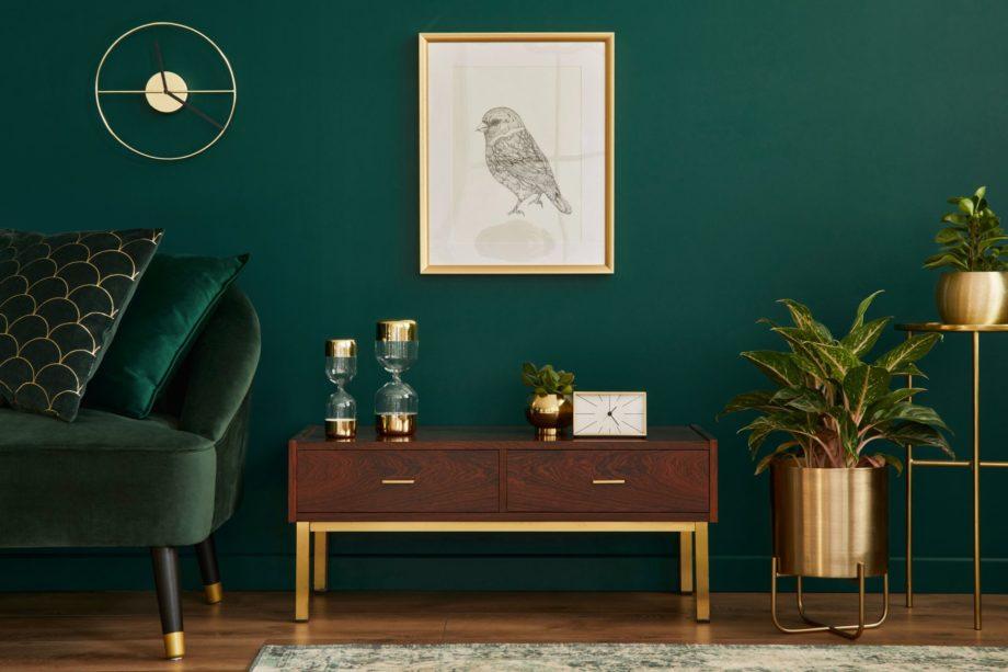 Luxury,Interior,With,Stylish,Velvet,Sofa,,Wooden,Commode,,Mock,Up