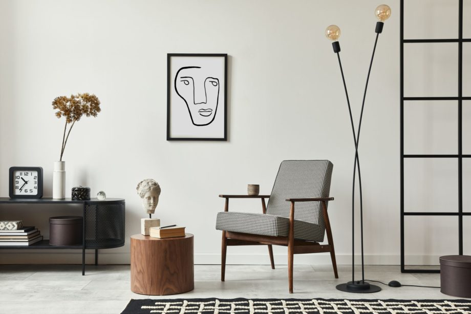 Stylish,Scandinavian,Composition,Of,Living,Room,With,Design,Armchair,,Black
