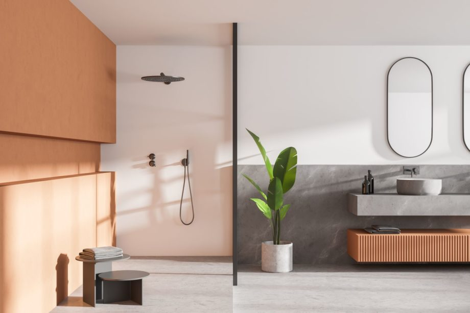 Interior,Of,Modern,Bathroom,With,White,And,Wooden,Walls,,Concrete