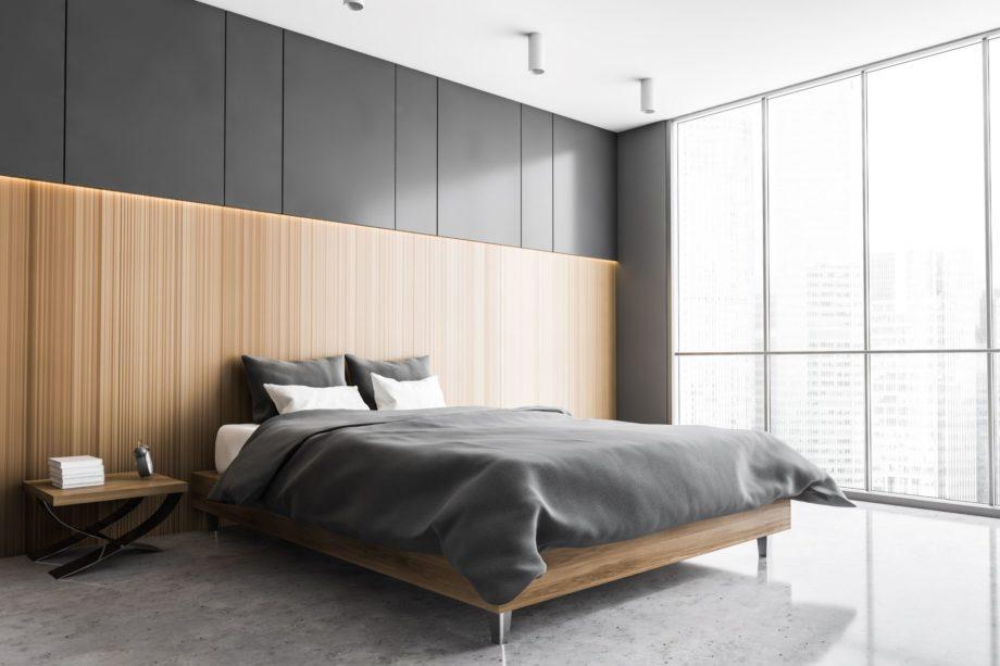 Grey,And,Wooden,Sleeping,Room,,Bed,On,Grey,Marble,Floor,