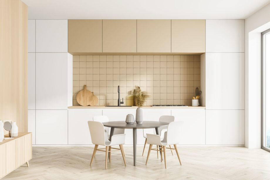 Modern,Kitchen,Interior,,Dining,Area,With,Panoramic,Windows.,Furnished,By