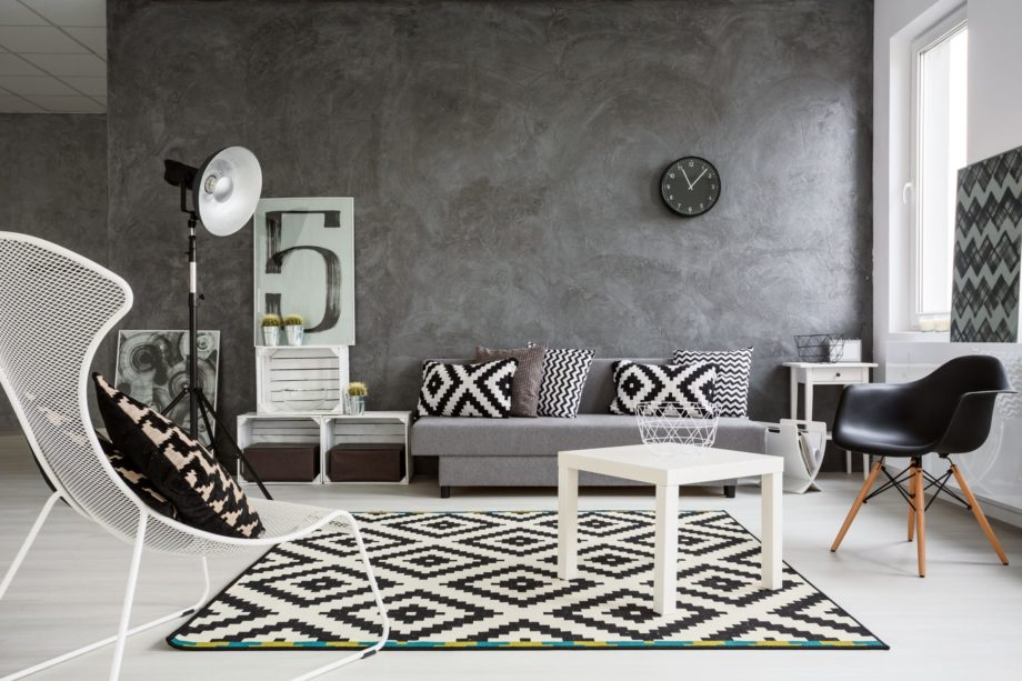 Spacious,Classic,Living,Room,In,Black,And,White.,Interior,Designed