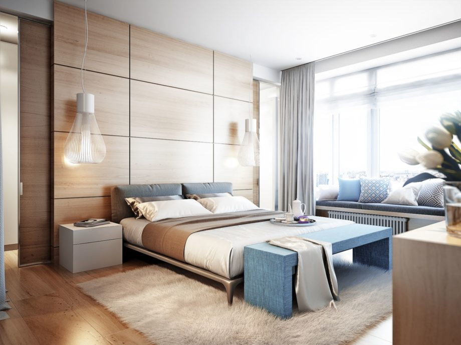 Bright,And,Cozy,Modern,Bedroom,With,Dressing,Room,,Large,Window