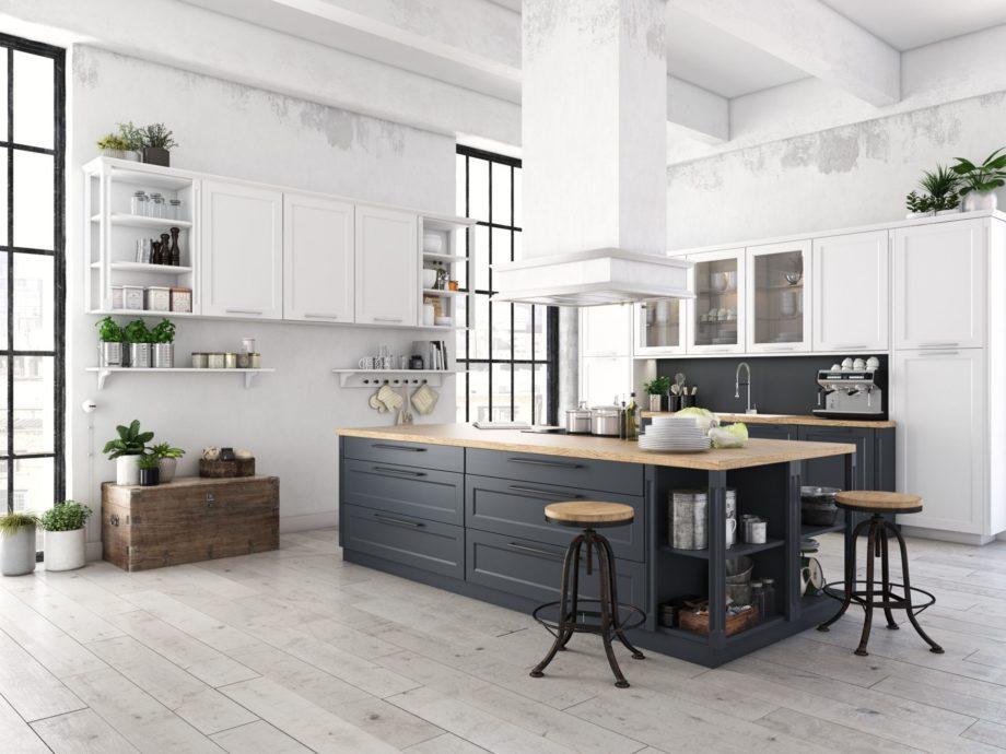 3d,Rendering,Of,Modern,Kitchen,In,A,Loft.