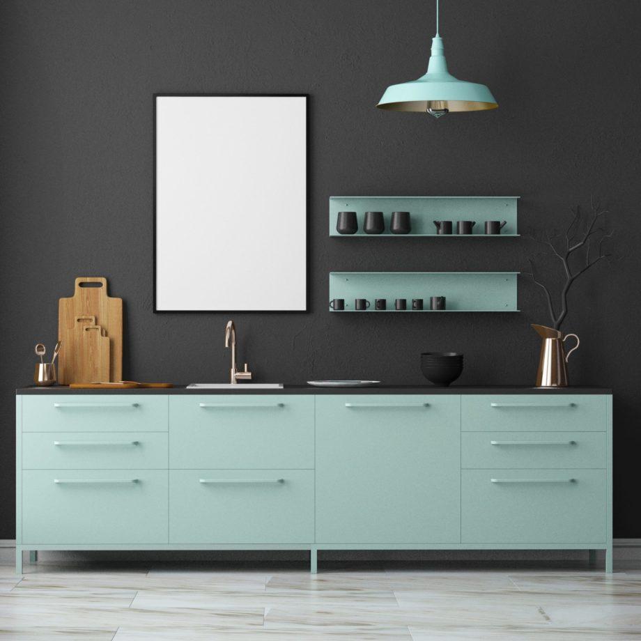 Mockup,Interior,Kitchen,In,Loft,Style.,3d,Rendering.,3d,Illustration.