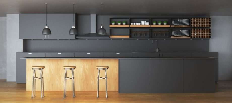 Modern,Dark,Kitchen,Interior,With,Furniture,And,Equipment.,3d,Rendering