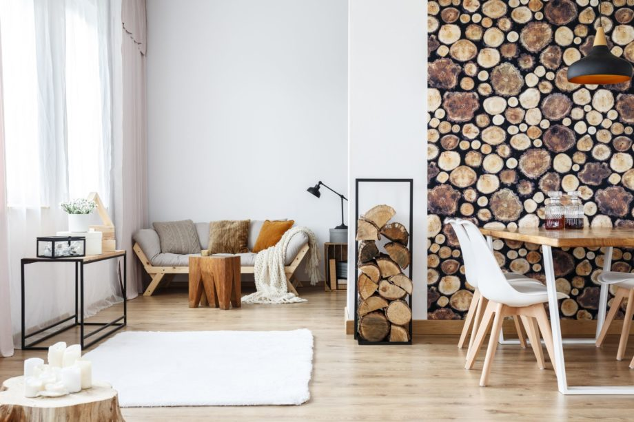 Wooden,Log,Texture,Wallpaper,In,Cozy,Dining,Space,Of,White