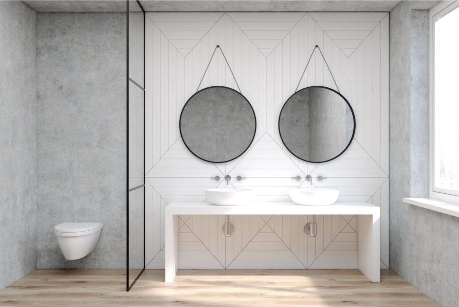 White,Bathroom,Interior,With,A,Wooden,Floor,,A,Double,Sink