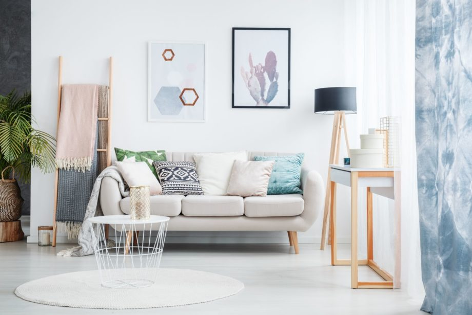 Paintings,Of,Cactus,And,Hexagons,Hanging,Over,A,Cozy,Sofa